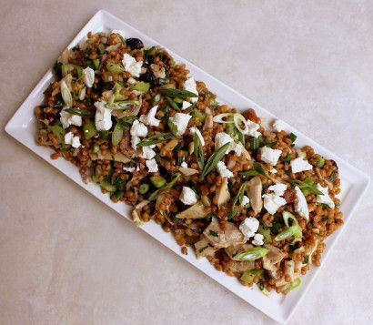 Trail Mix Wheat Berry Salad with Chicken, Goat Cheese and Orange Vinaigrette