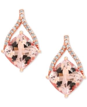 44322f4d95c0 Effy Blush Morganite (2-2 3 ct. t.w.) and Diamond (1 8 ct. t.w.) Drop  Earrings in 14k Rose Gold - Gold