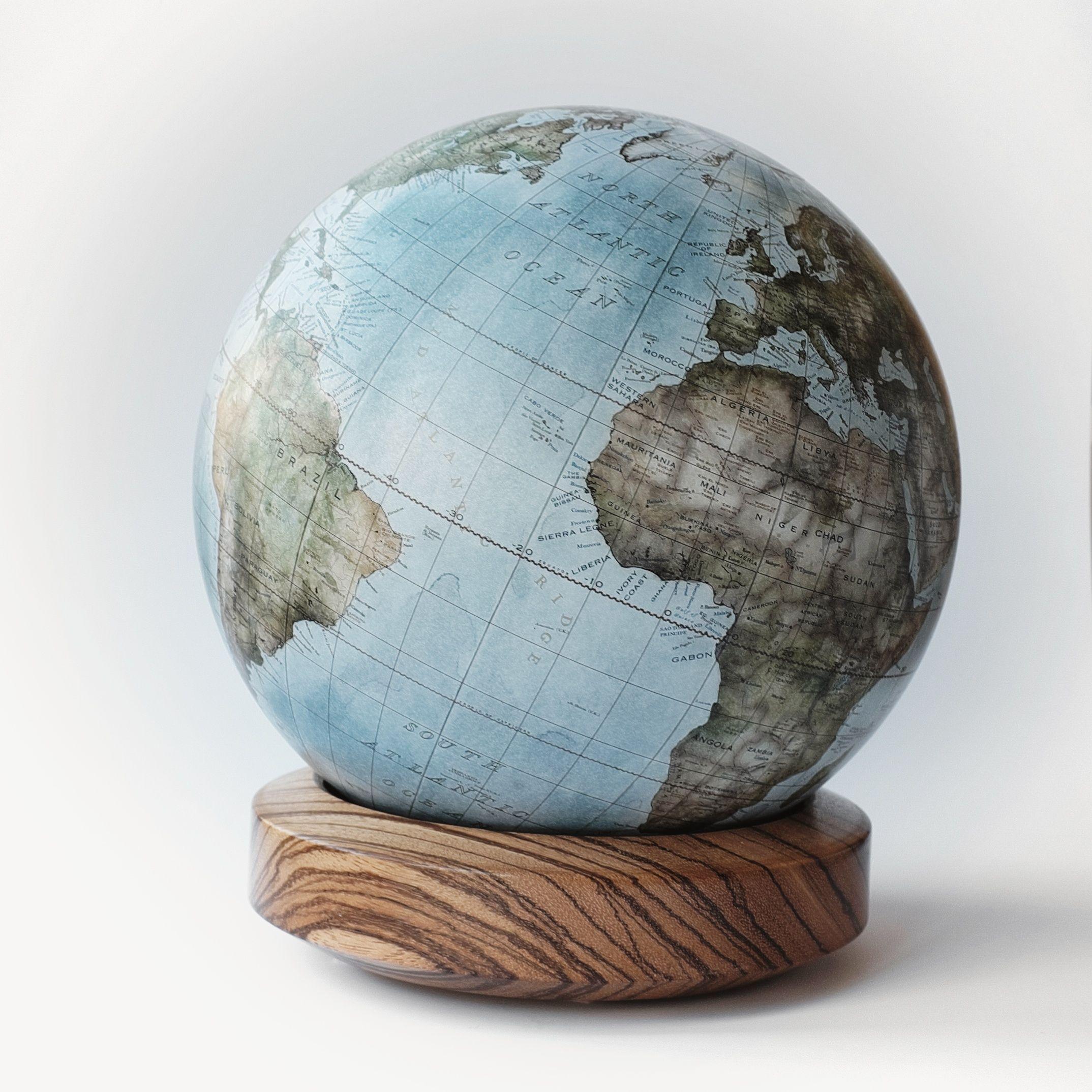 "Bellerby & Co Globemakers Handmade & Bespoke Modern World Globes. Terrestrial Desk Globe ""Gagarin"" on Zebrano base."