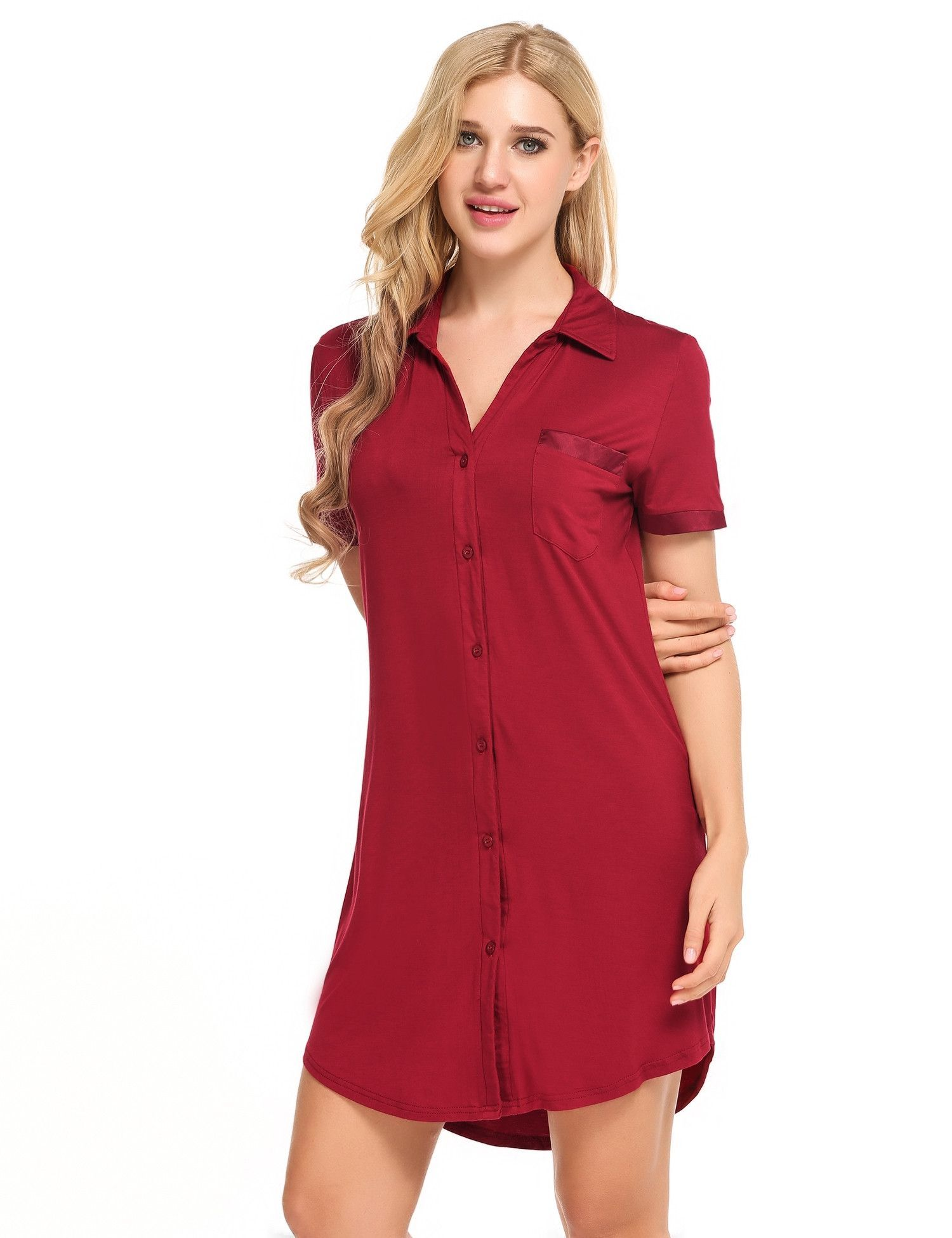 Navy blue short sleeve button down sleepshirt dress sleepwear