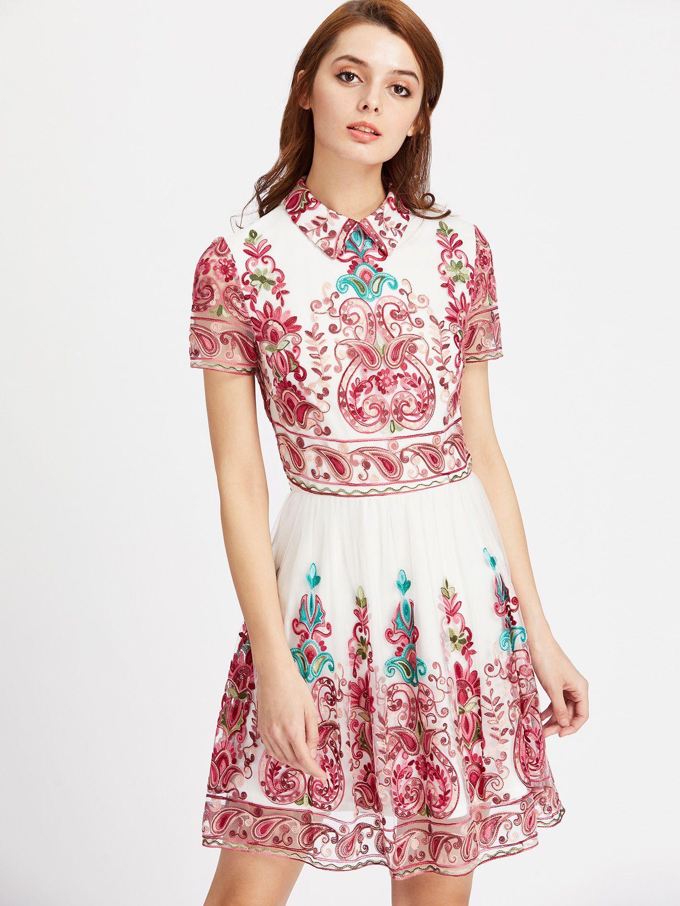 Shop Embroidered Mesh Overlay Skater Dress online. SheIn offers Embroidered Mesh Overlay Skater Dress & more to fit your fashionable needs.