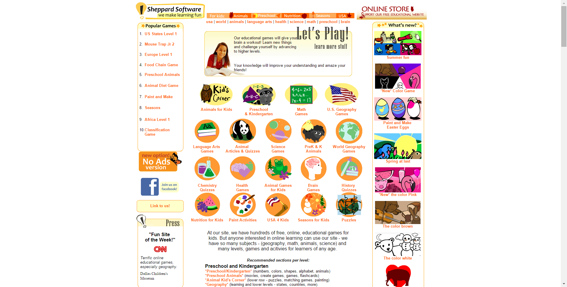 Fun webbased learning games math, animals, geography