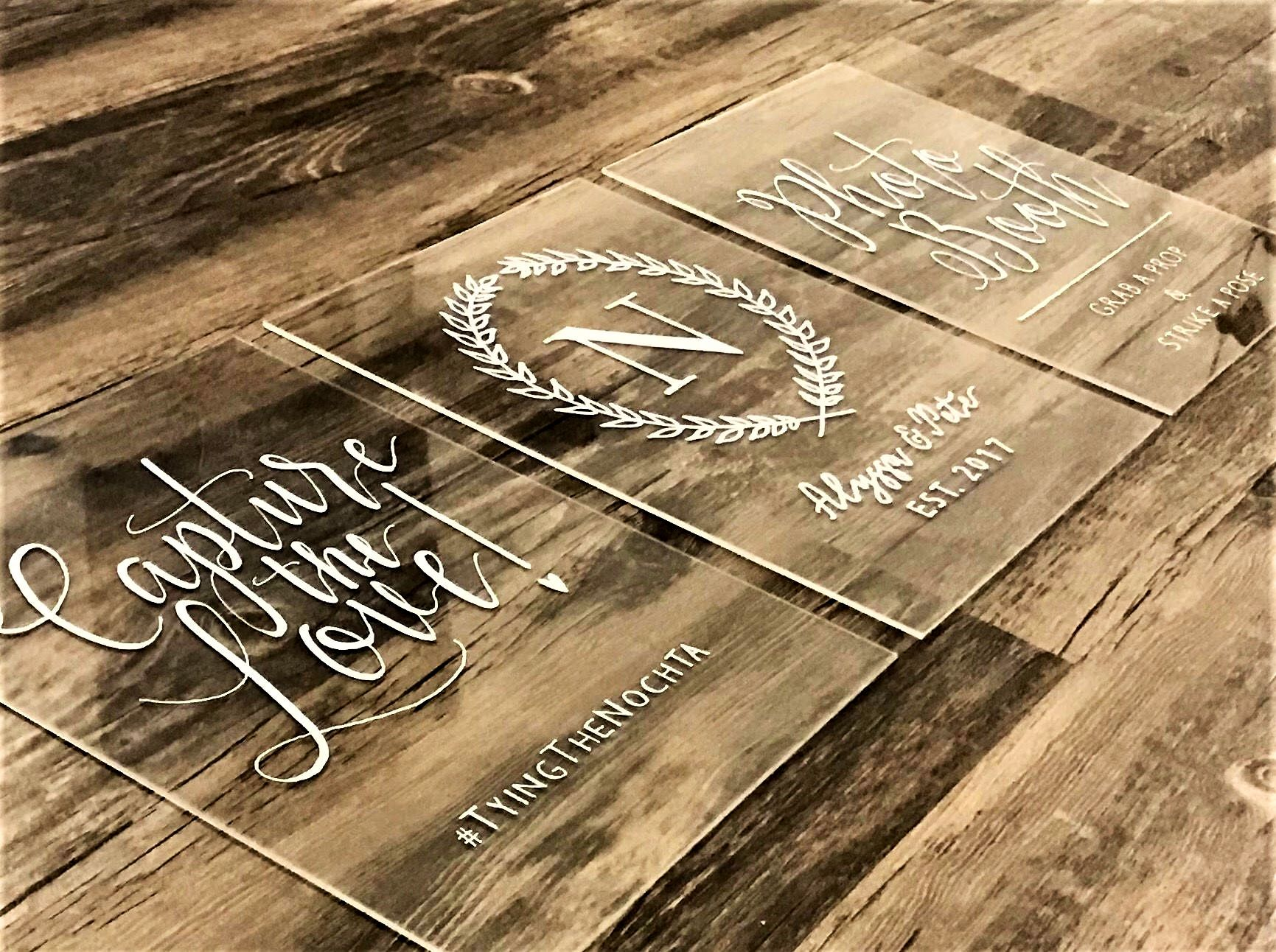 Custom Acrylic Wedding Sign Bundle SET OF 2 or 3 Size
