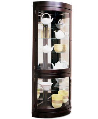 Furniture Contemporary Curved Corner Curio Cabinet Reviews Furniture Macy S In 2020 Corner Curio Curio Cabinet Dining Furniture Makeover