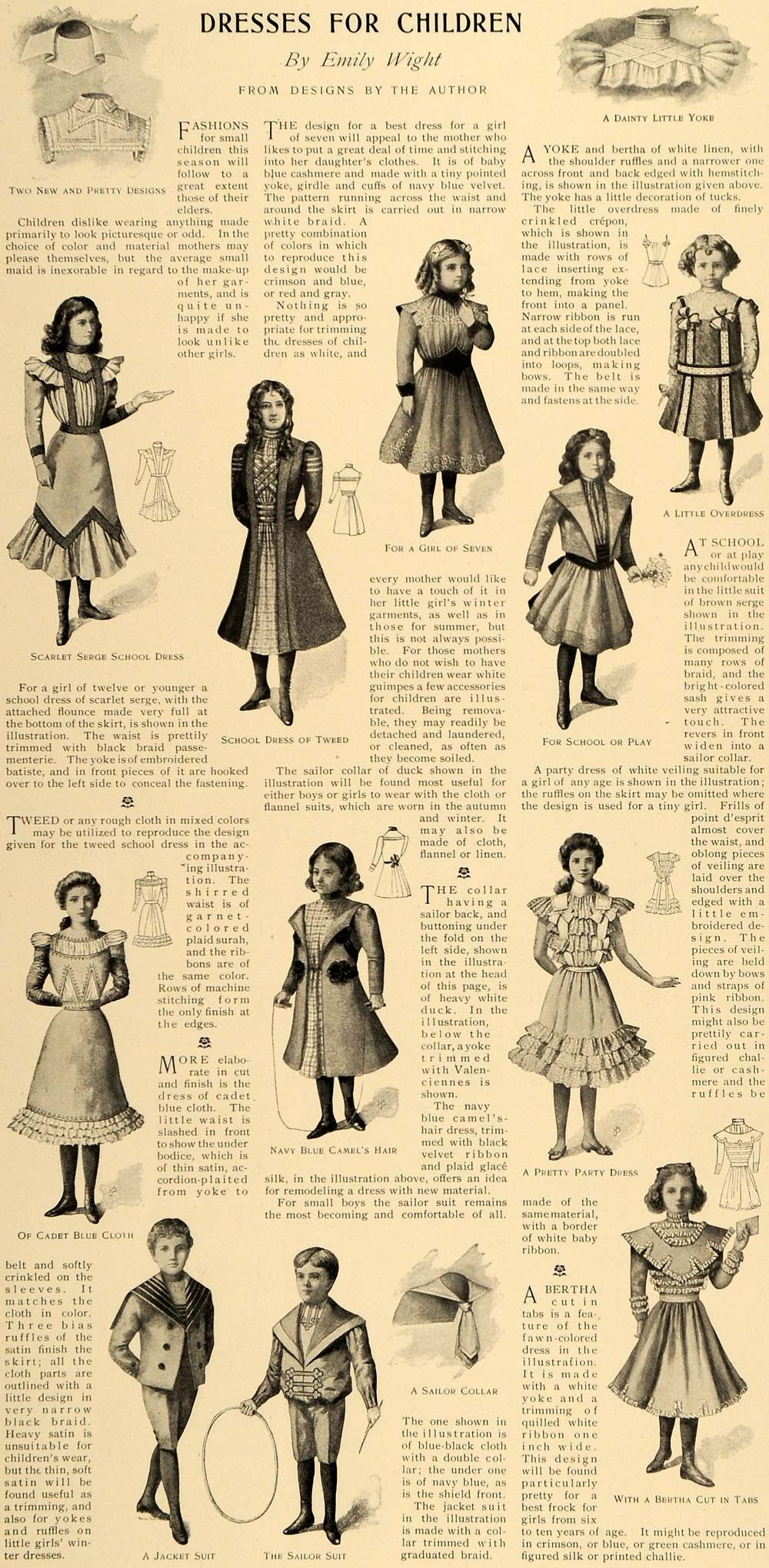 1899 Article Children Dress Fashions Emily Wight Girl Clothes Boys Lhj Victorian Children S Clothing Diy Kids Clothes Girls Kids Outfits Girls