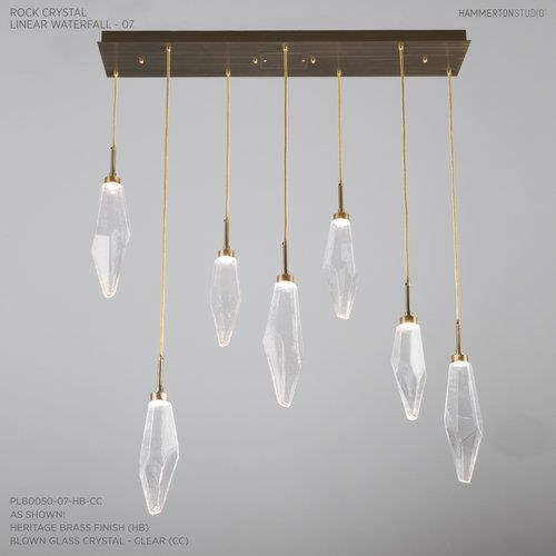 Linear rock crystal waterfall chandelier the natural beauty of quartz paired with six mid