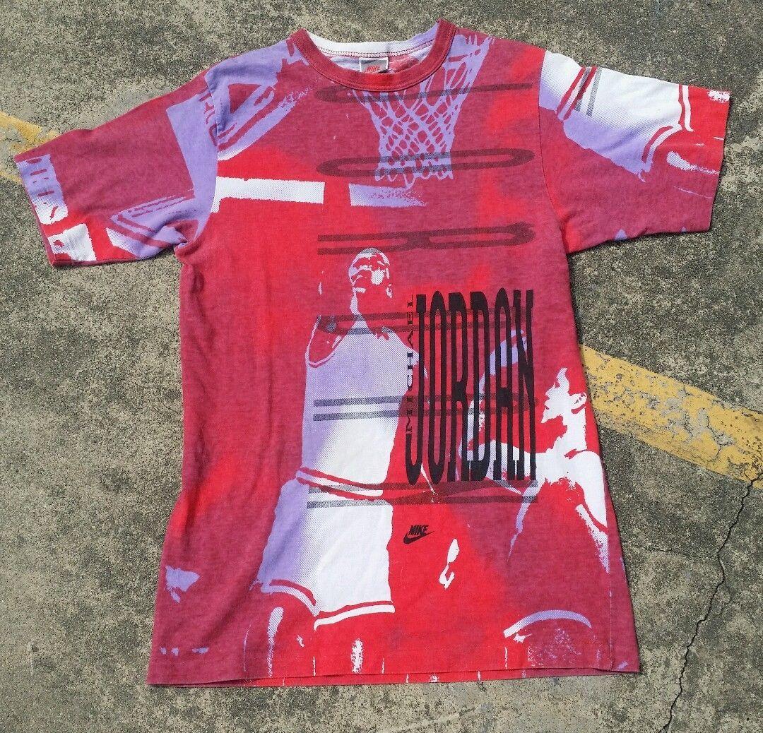 VTG 80s 90s Nike Gray Tag Michael Jordan All Over Print T-Shirt Mens by catchmiifyacan on Etsy