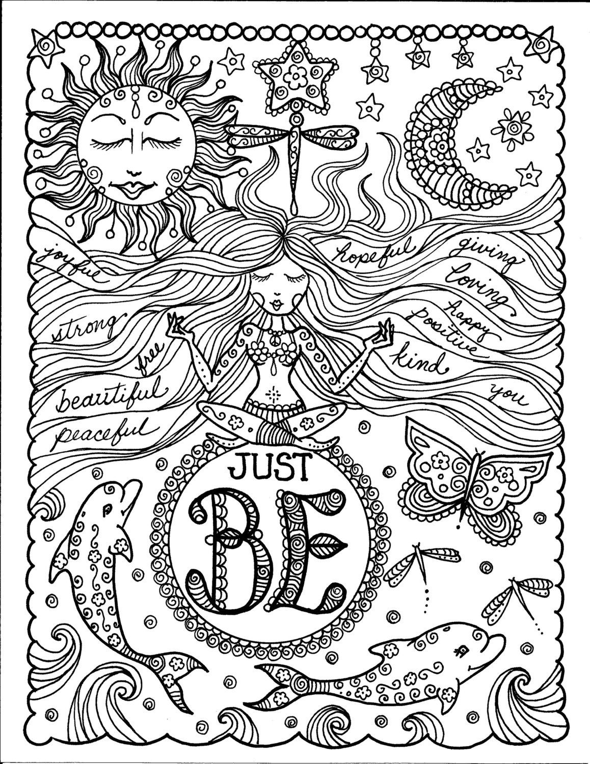 Instant Download Just Be Inspirational Art For You To Color Yoga Meditation Fun Coloring For Adults Coloring Books Coloring Pages Adult Coloring Pages