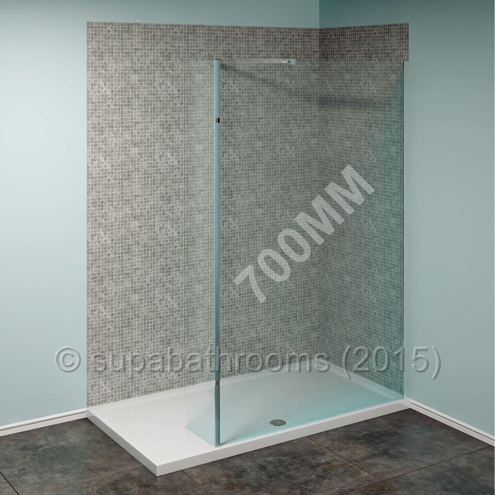 Walk In Shower Enclosure Easy Clean 700mm Screen + Flipper Panel + ...