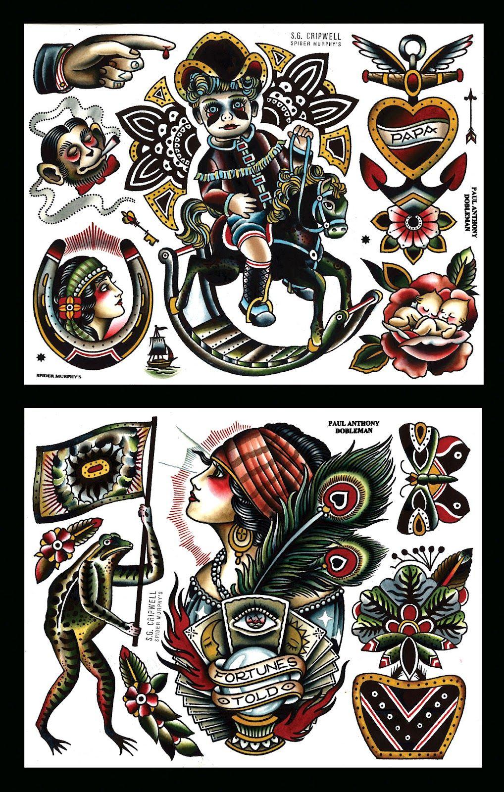 cripwell / dobleman Traditional tattoo flash