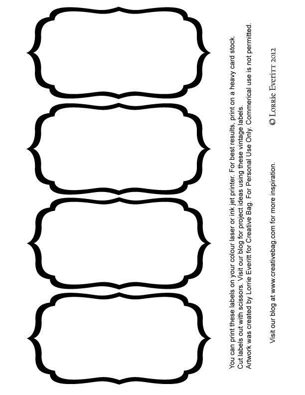 Black And White Blank Label Templates  Labels    Label
