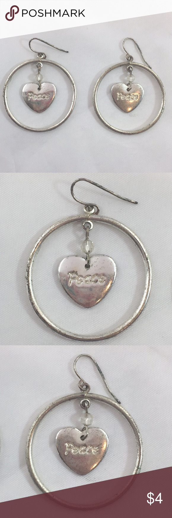 """Download Silver tone """"peace"""" heart dangle earrings (With images ..."""