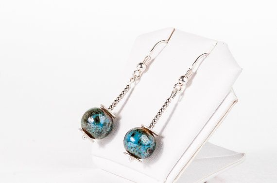 Small Beadwork Earrings Nautical Blue Dangling by DevikaBox, $22.00