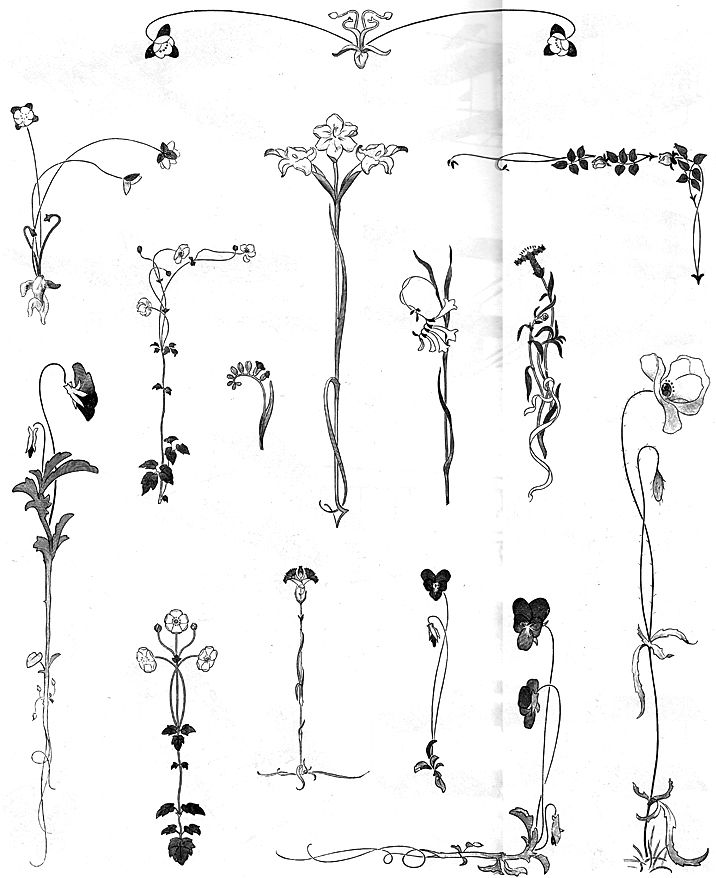 Simple One Line Text Art : Art nouveau flowers some of these are perfect for my