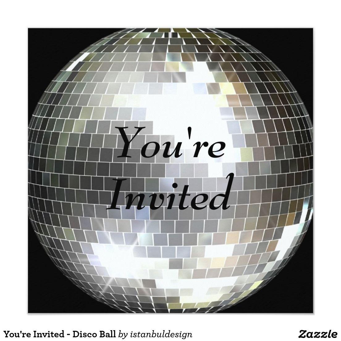 You're Invited - Disco Ball 5.25x5.25 Square Paper Invitation Card