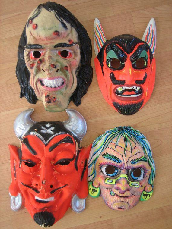 Four Vintage Plastic 1960s Halloween Masks By Chrissiesvintage