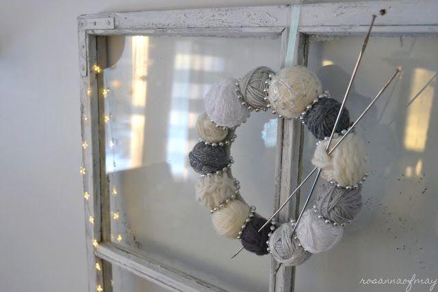 Neulojan kranssi (DIY in finnish)  DIY yarn ball wreath