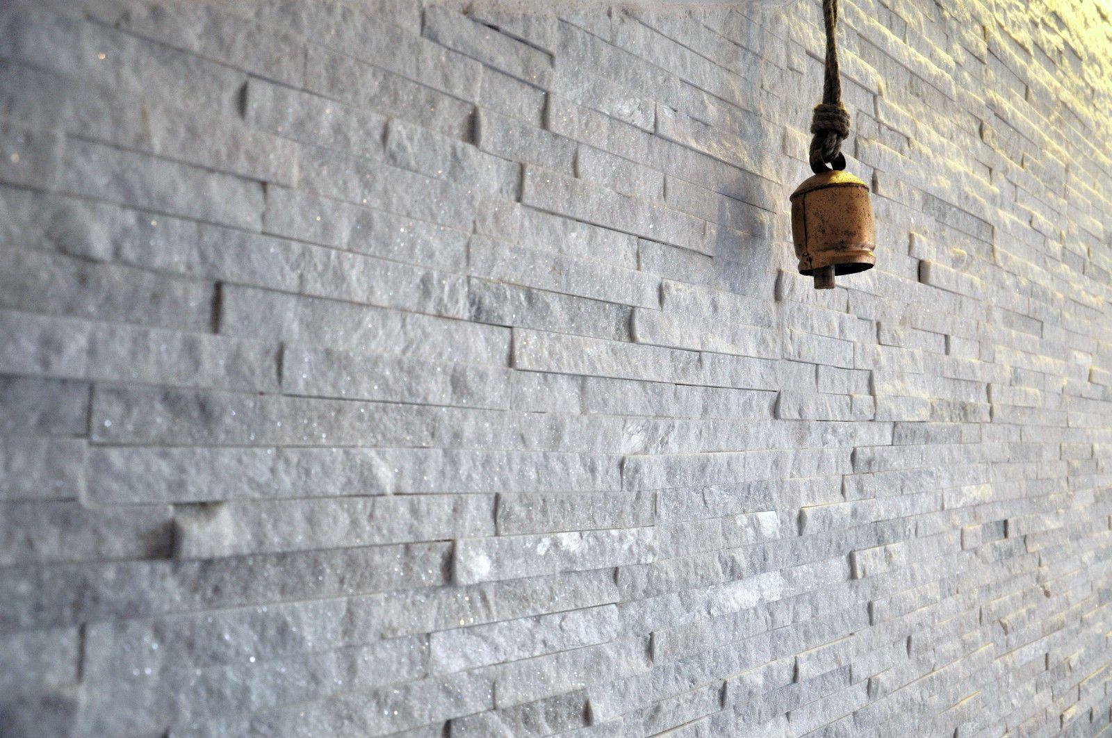 Split Face Natural Stone White Quartz Wall Cladding Tiles 3d Stacked Sparkle Ebay Quartz Wall Tiles Wall Cladding Tile Cladding