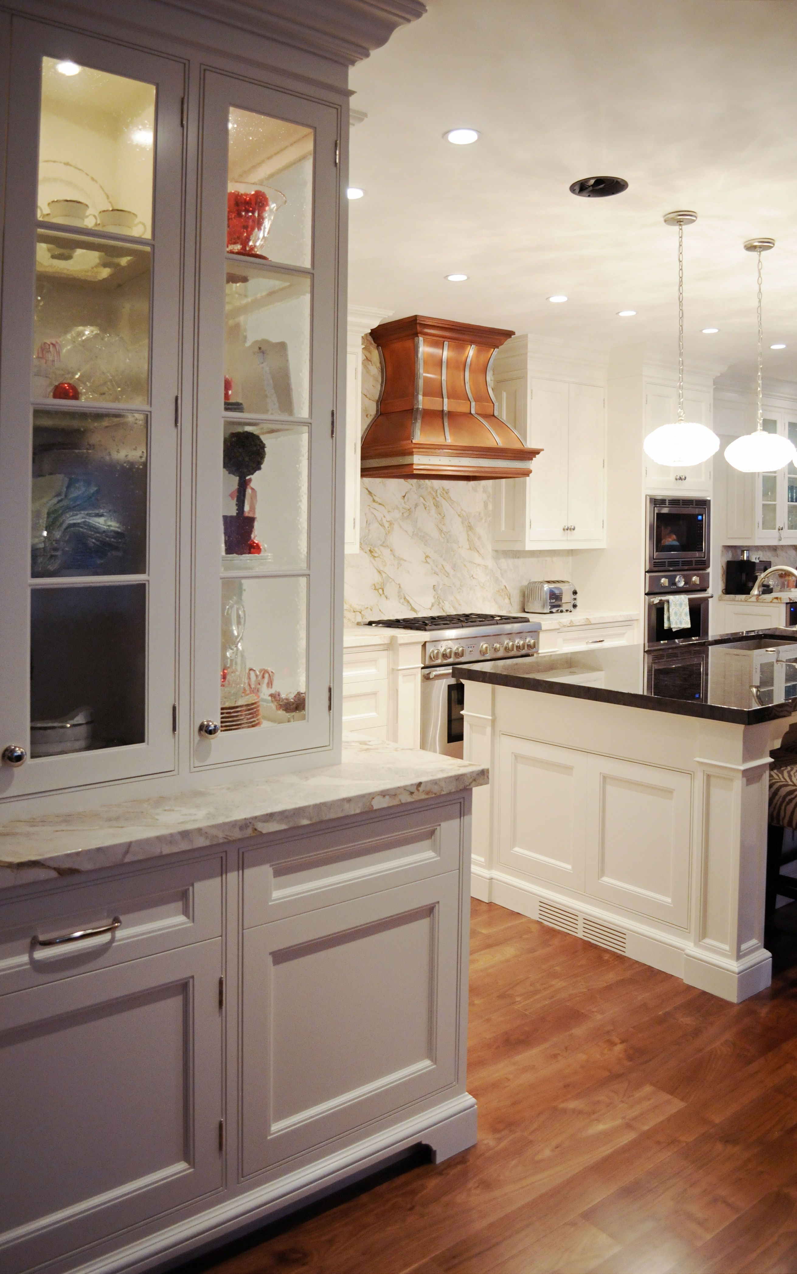 White Kitchen, inset doors with elegant exposed hinges ...