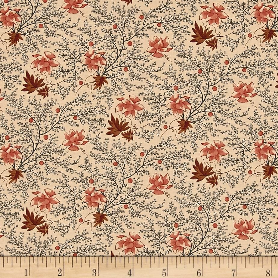 Jo Morton Reflections Ferns Flora Medium Blue Buff from @fabricdotcom  Designed by Jo Morton for Moda, this reproduction cotton print collection harkens back to the 1800's with smaller scale civil war reproduction prints in a muted vintage palette. Perfect for quilting, apparel, and home decor accents. Colors include shades of brown, muted pink, and blue.