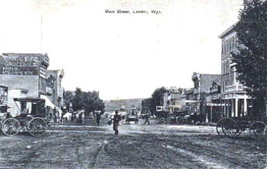 Historic Wyoming Lander 1907 Freemont Hotel At Right In Photo