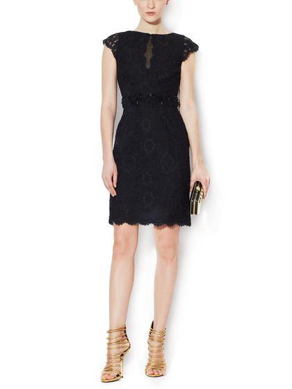 Lace Beaded Sheath Dress by ML Monique Lhuillier