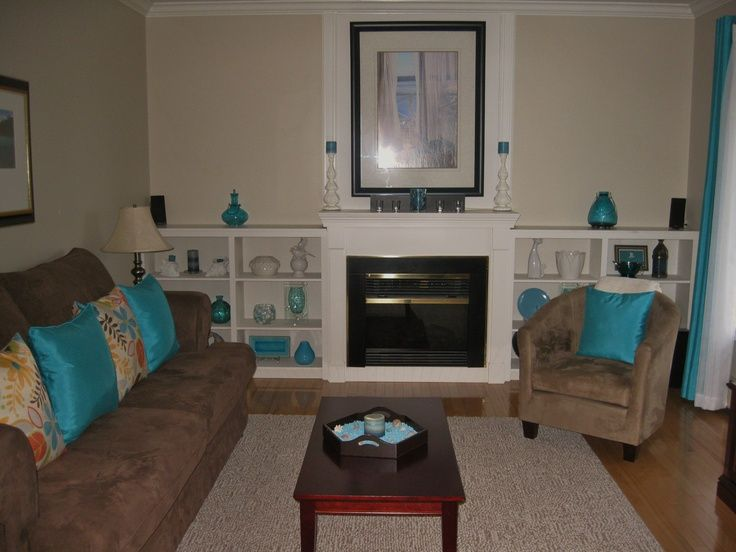 teal and tan living room Living room in teal and chocolate brown