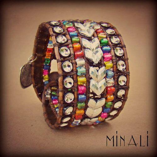 Carnival - Rhinestone & Leather Cuff Bracelet