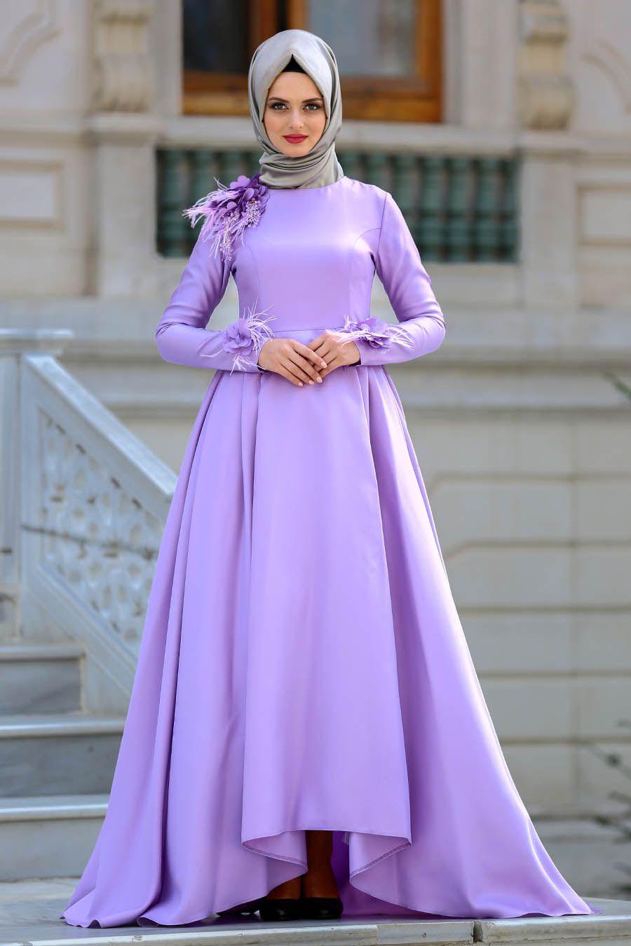 Tuay Cicek Detayli Lila Tesettur Abiye Elbise 2492lila Tesetturisland Com Moda Stilleri The Dress Elbise