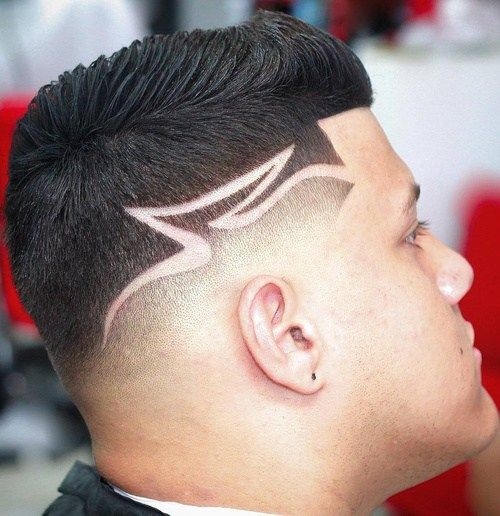 17 Taper Fade Haircut With Shaved Lines