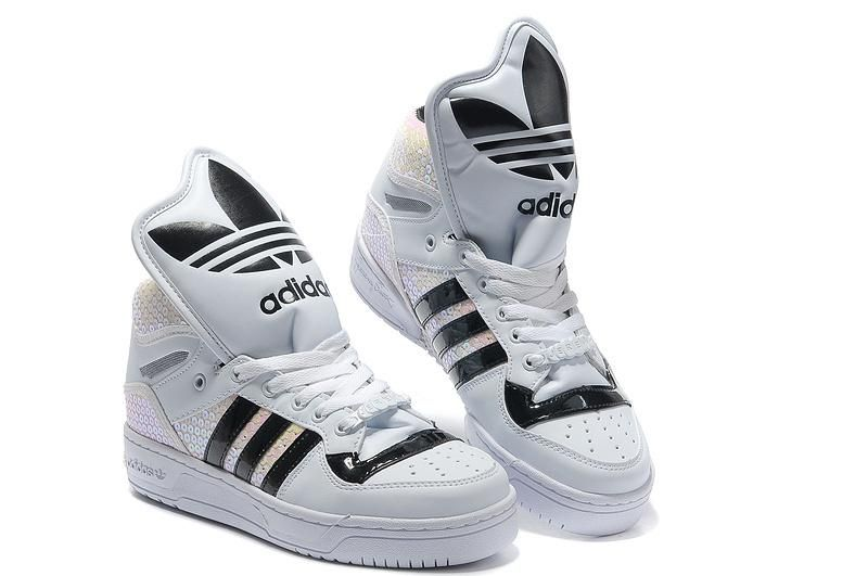 the latest 81768 9e813 adidas+high+tops   Adidas High Tops Big Tongue White Black Rainbow for Women