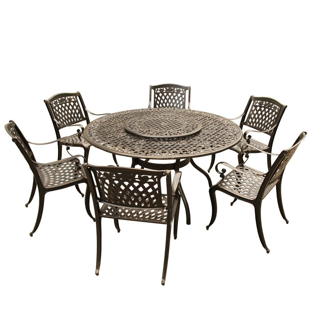 Oakland Living Rose Ornate Traditional 7 Piece Bronze Aluminum Round Outdoor Dining Set With 6 Chairs And Lazy Susan Outdoor Dining Set Large Round Dining Table 7 Piece Dining Set