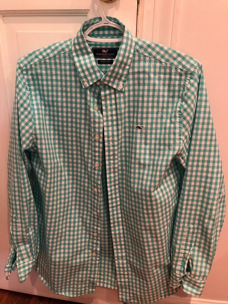 6cf77a0dce73 VINEYARD VINES WHALE SHIRT Boys L S Button Down Green Gingham Size Large  16 18  fashion  clothing  shoes  accessories  kidsclothingshoesaccs ...