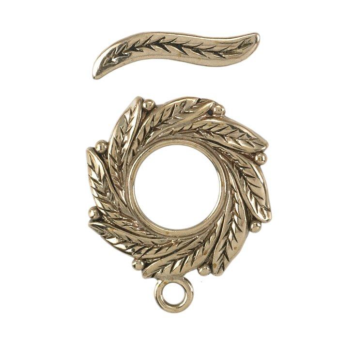 Bronze Leaf-Pattern Toggle Clasp