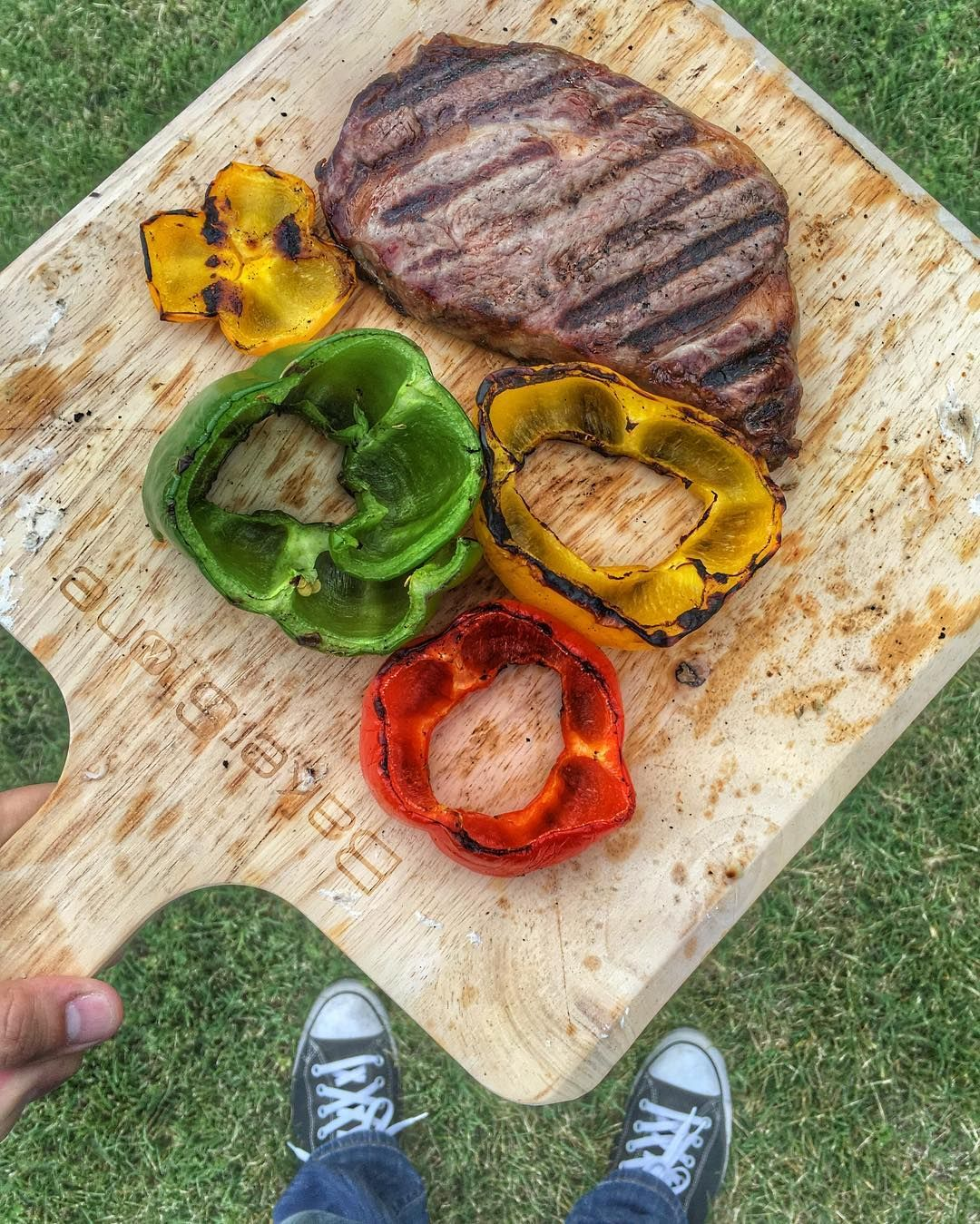 Pretty straight forward #Paleo dinner tonight.  @5280meat New York Strip Steak and Grilled Bell Peppers.