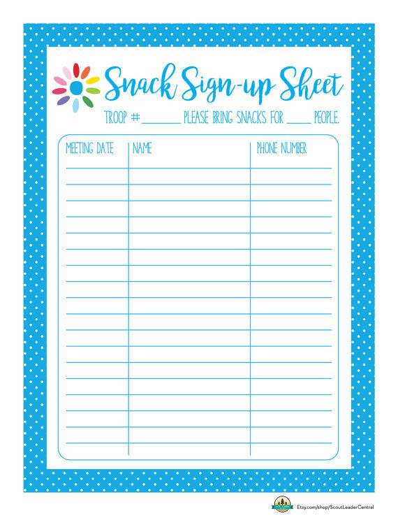 Instant Download Daisy Girl Scout Snack by ScoutLeaderCentral - Sign Sheet Template