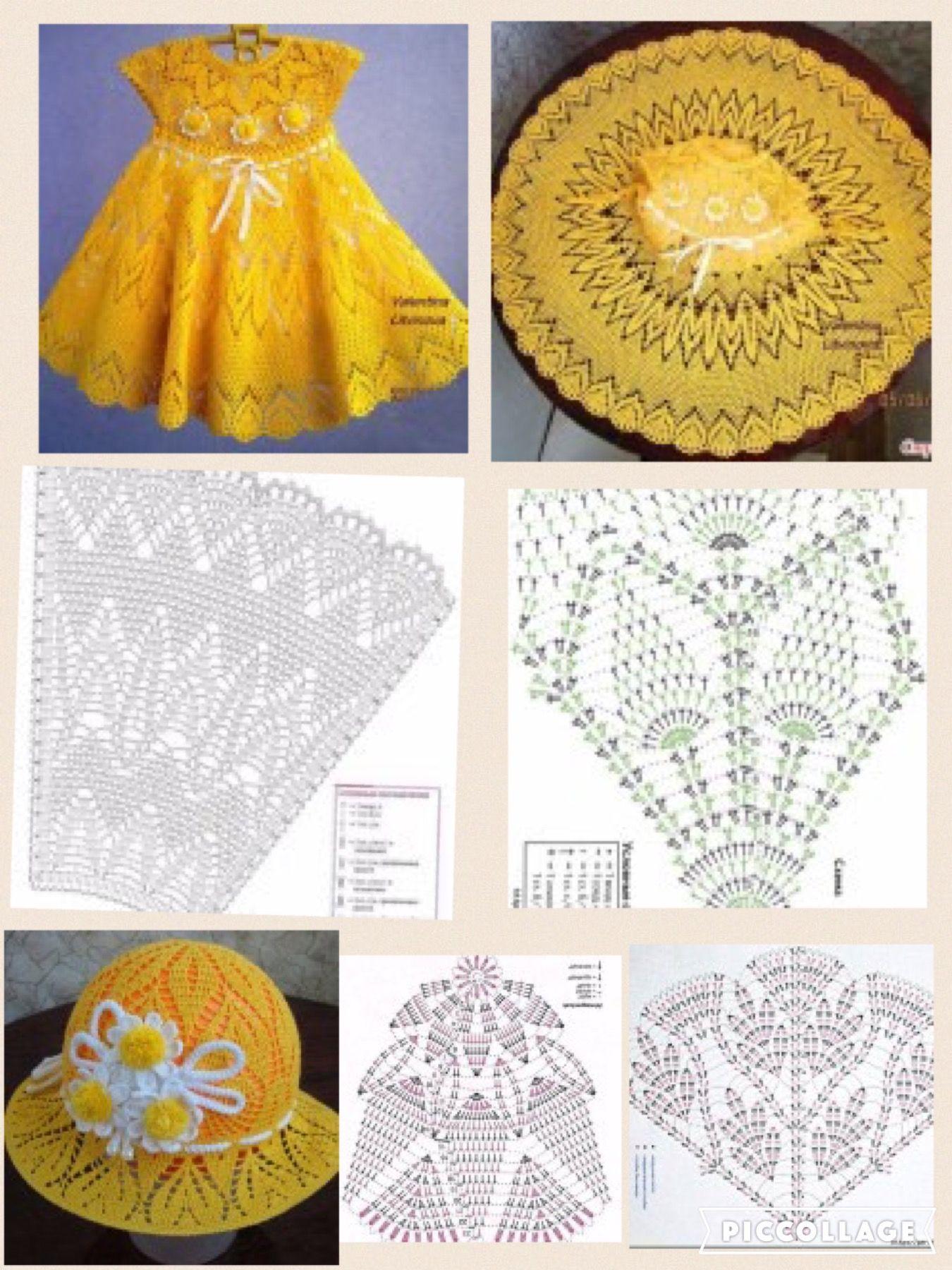 Pin by Marielos Castillo on Vestidos, blusas y faldas niña crochet ...