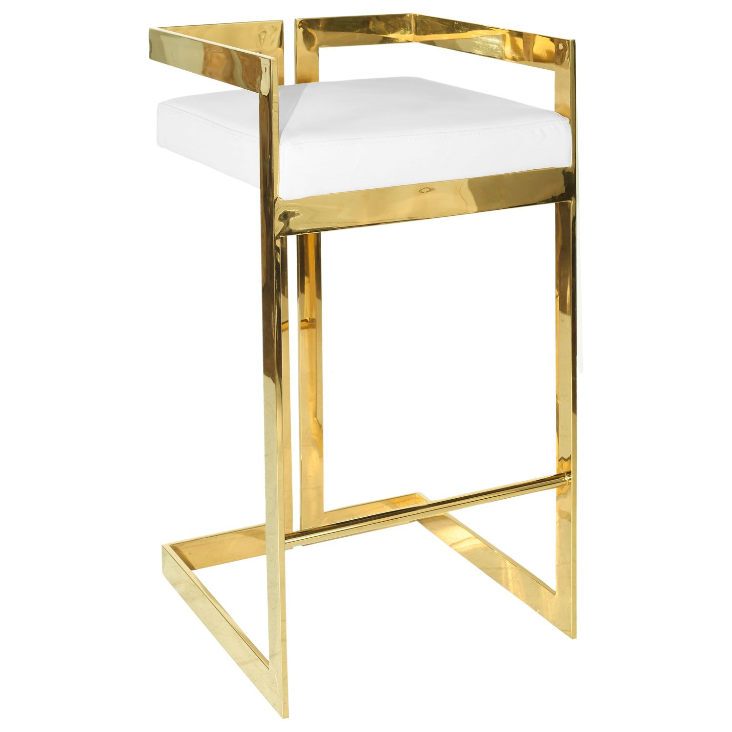 Calvin Bar Stool Black Leather And Brass With Images Bar