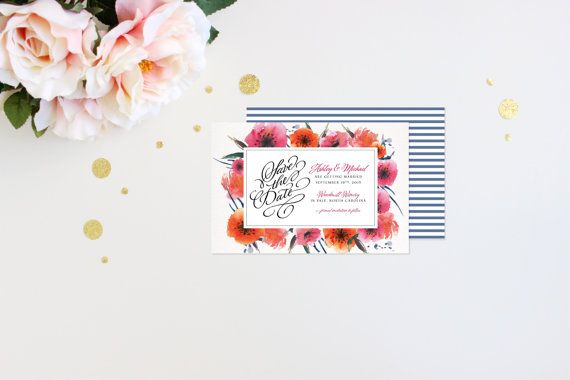 Save the Date Modern Tropic Floral Elegant Luxury by mailepaperie