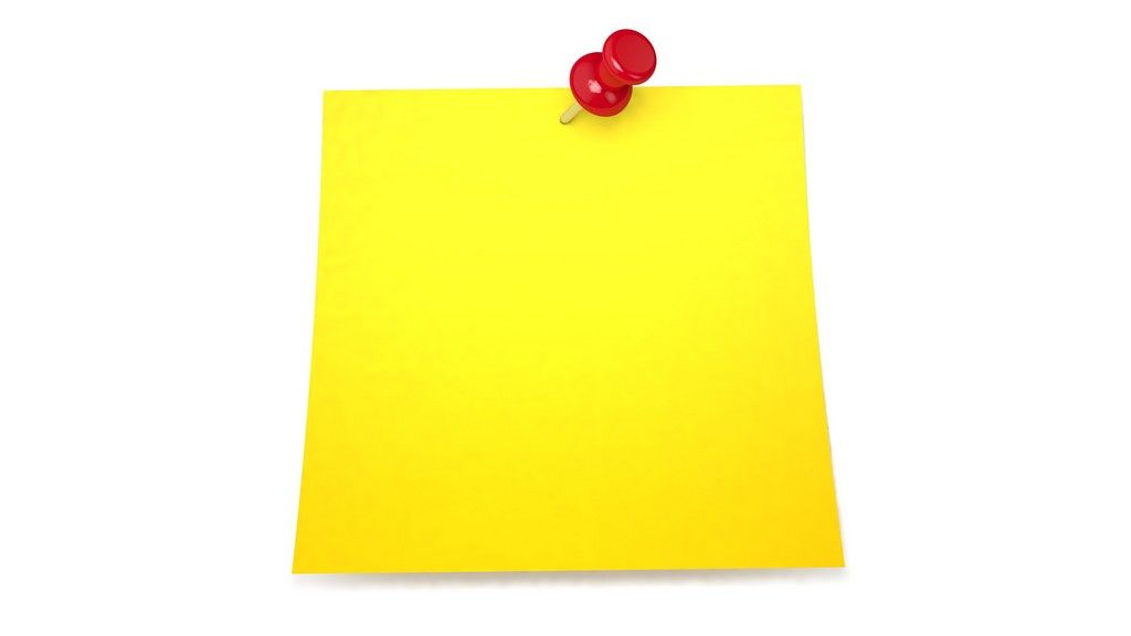 Yellow Sticky Note Yellow Note Paper With Red Pin, In Two Versions