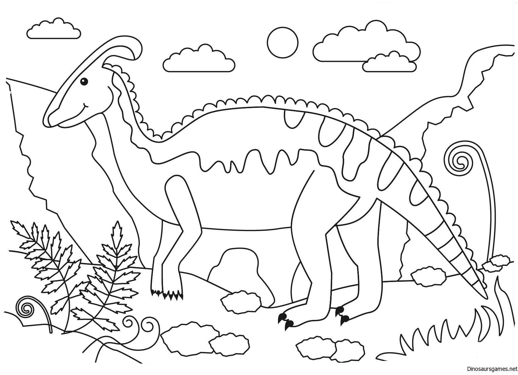 Enjoy Parasaurolophus Dinosaur Coloring Page At