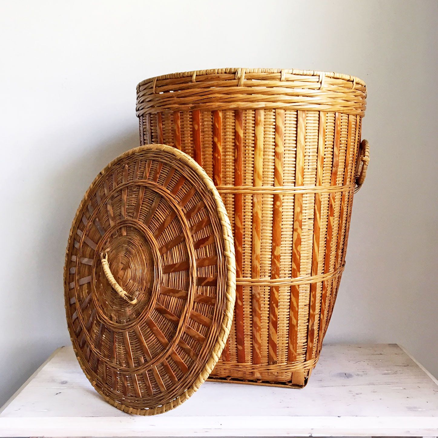 Large Vintage Round Chinese Bamboo Basket W Lid Woven Basket With