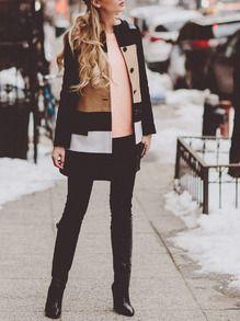 Black Camel Long Sleeve Color Block Coat -SheIn(Sheinside)