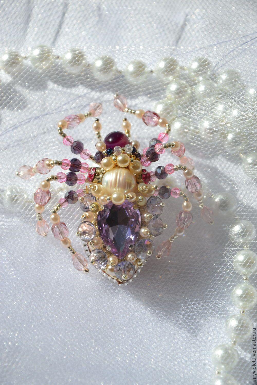 Купить Брошь паук жук Стася - бледно-сиреневый, брошь, насекомое, жук, жучок