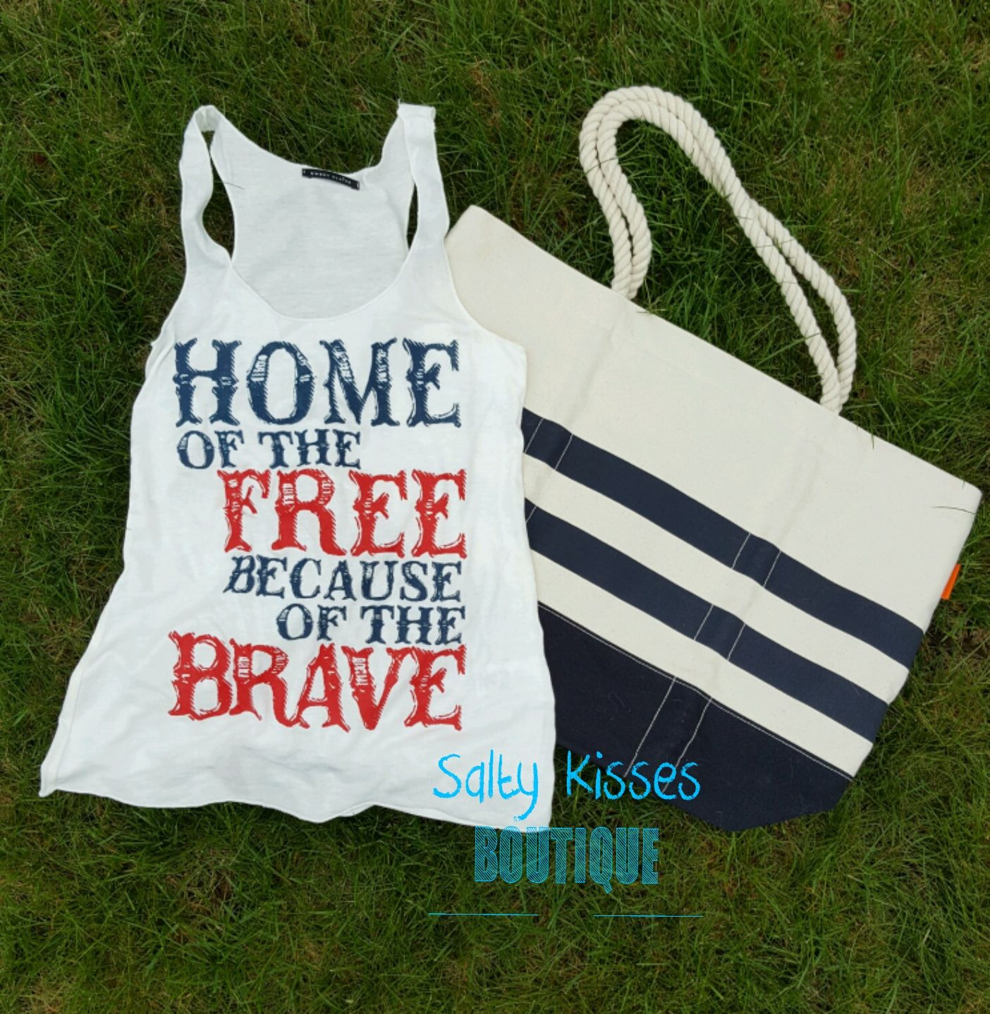 Get ready for Summer BBQ'S with our Home of the Free because of the Brave tank! Ultra soft with a  loose fit♡ | Shop this product here: spreesy.com/saltykissesboutique/26 | Shop all of our products at http://spreesy.com/saltykissesboutique    | Pinterest selling powered by Spreesy.com