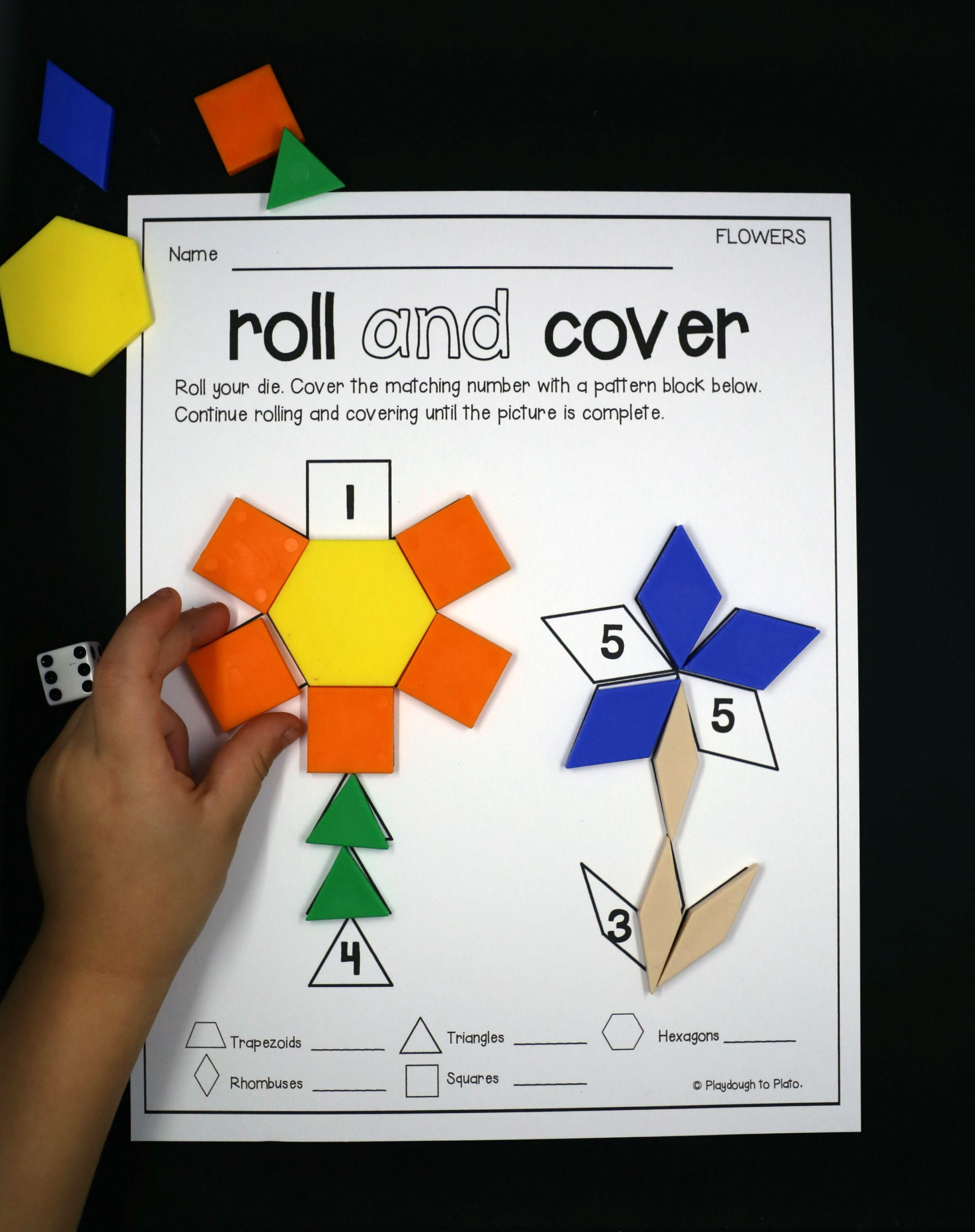 roll and cover pattern block mats  2d shapes activities