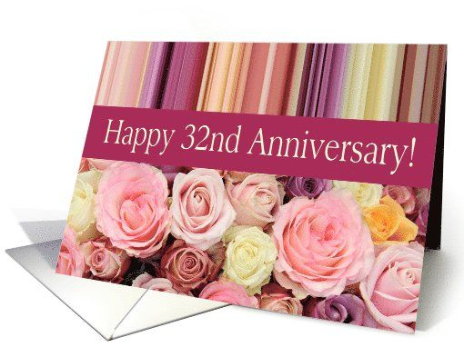 32nd Wedding Anniversary Pastel Roses And Stripes Card Wedding Anniversary Cards 30th Wedding Anniversary Card Wedding Anniversary Invitations