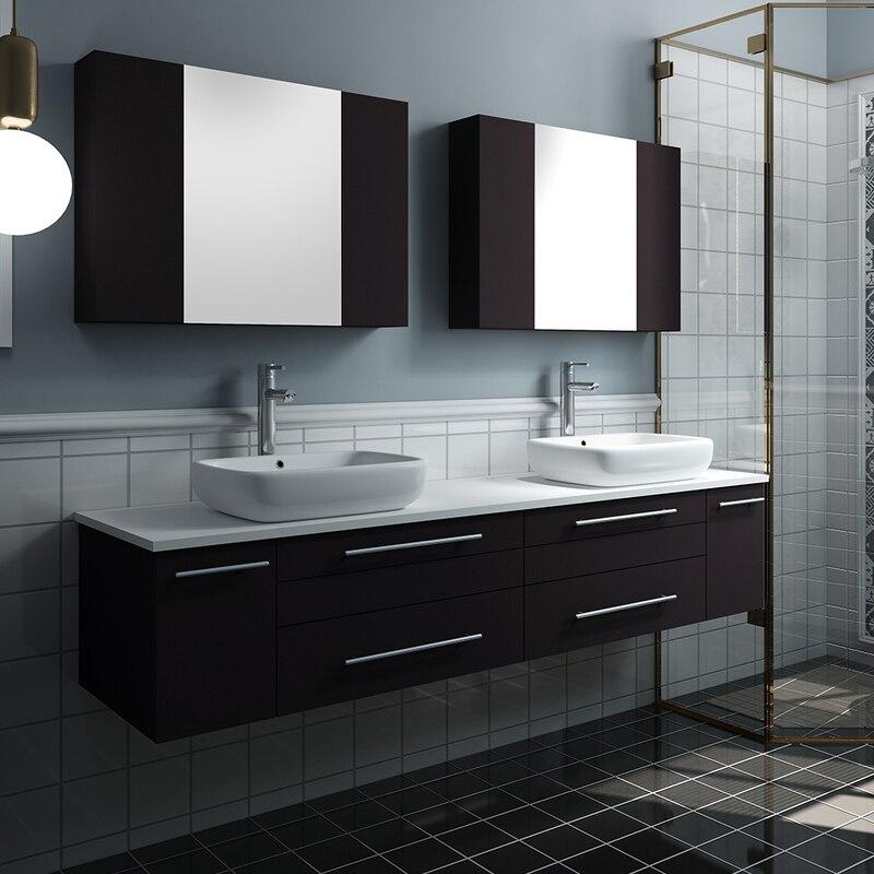 Fresca Lucera 72 Wall Hung Double Vessel Sink Modern Bathroom Vanity W Medicine C Modern Bathroom Vanity Vessel Sink Bathroom Vanity Modern Bathroom Cabinets