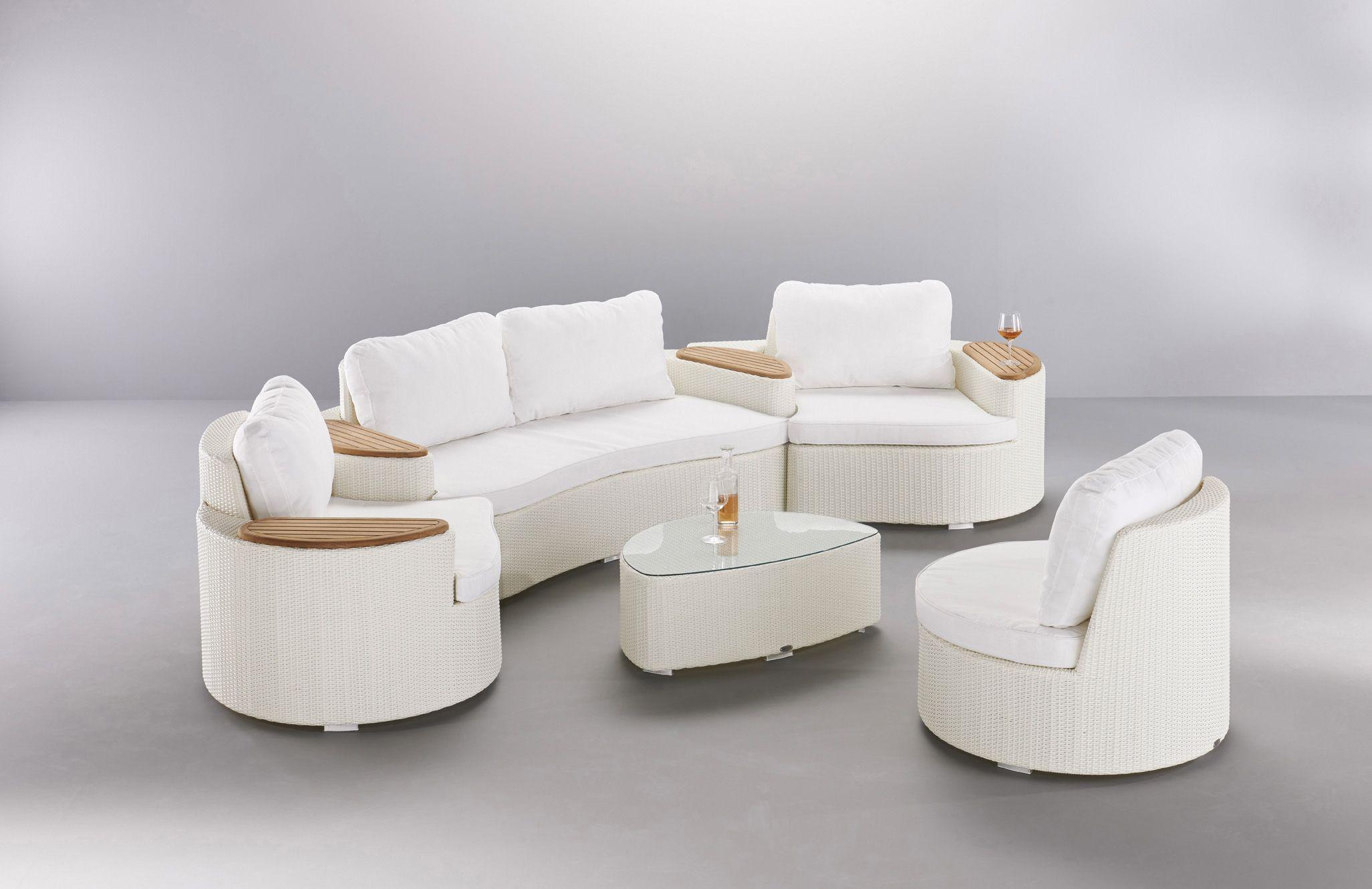 salon de jardin corfou en r sine tress e blanche et. Black Bedroom Furniture Sets. Home Design Ideas
