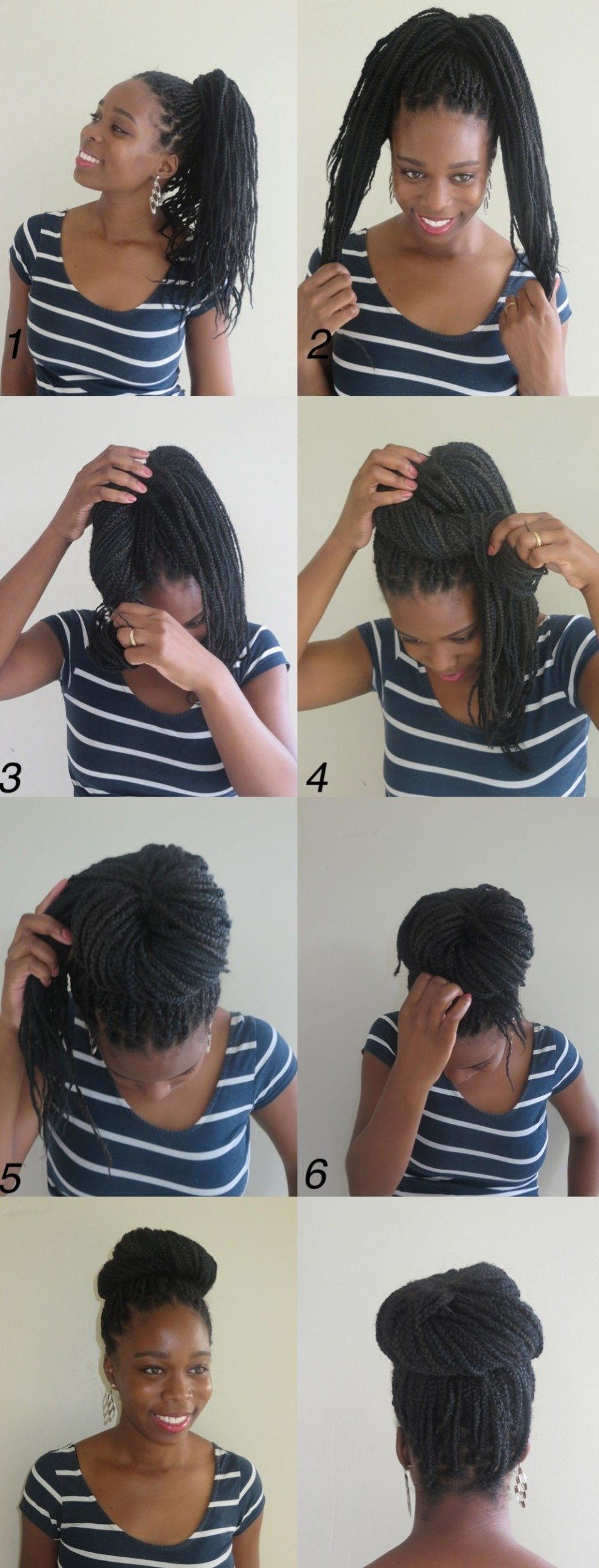 instructions directing you on how to style box braids large box